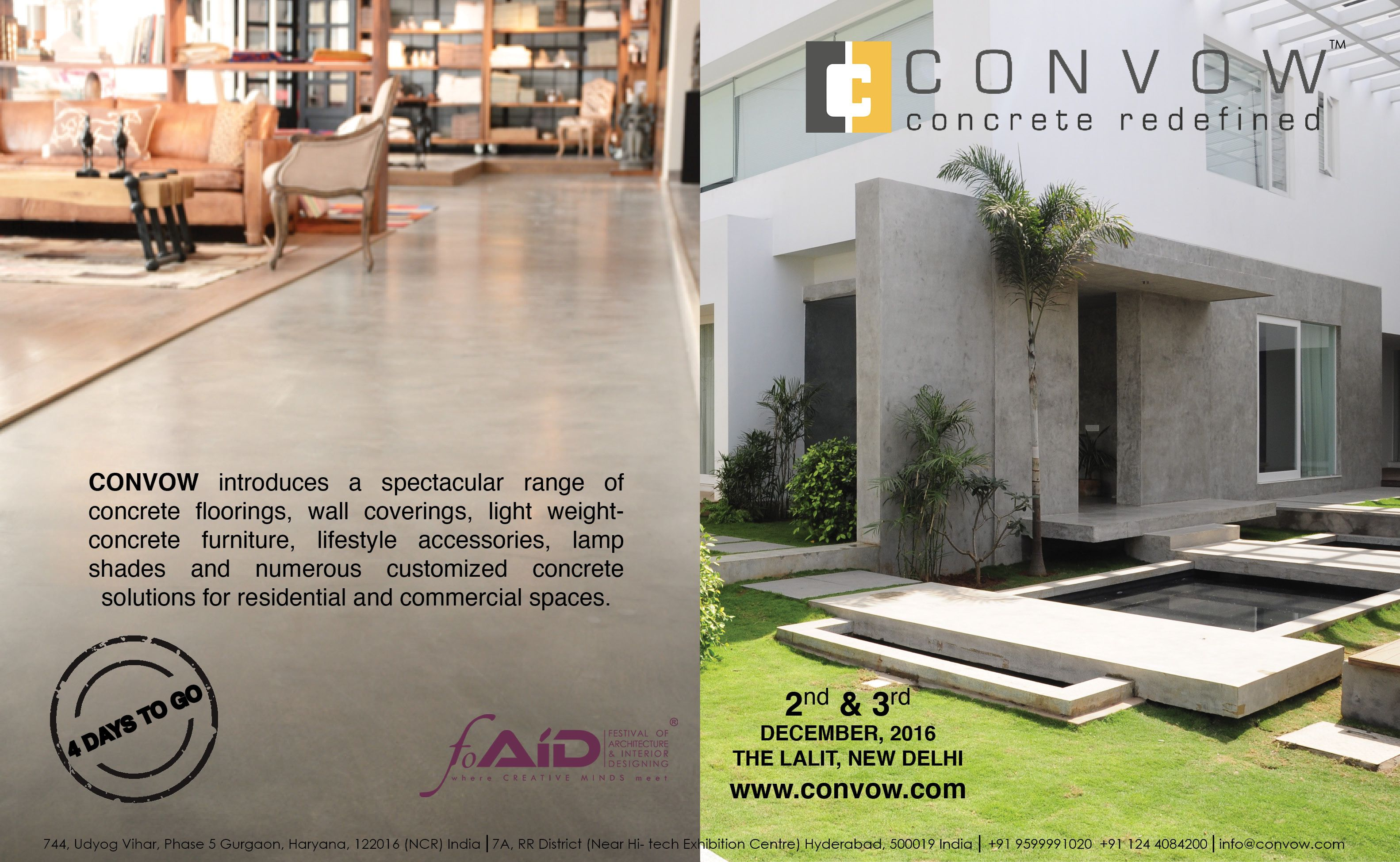 4 days to go!! CONVOW exhibits in FOAID Delhi, Gather yourselves and show up at the festival of architecture and interior designing 2016!!