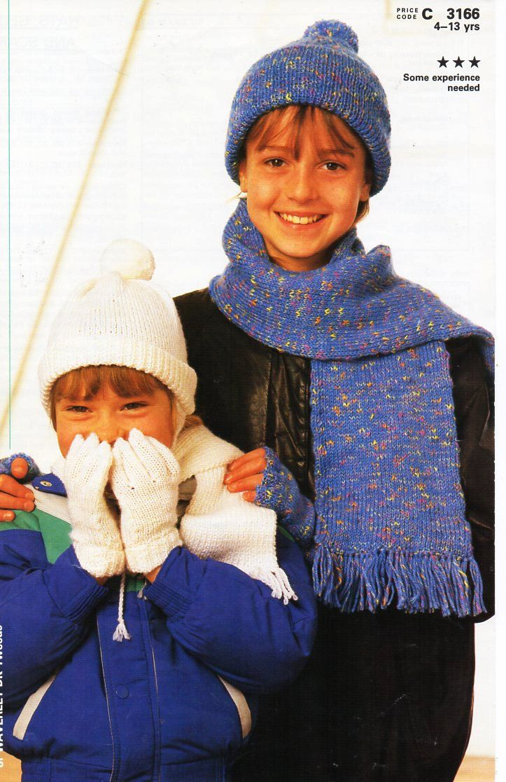 Vintage Childrens Hat Gloves Scarf Sets Knitting Pattern Pdf Dk C