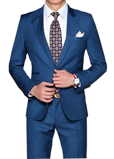 Slim formal blue dress suit | Matthewaperry--CUSTOMER WALL OF FAME ...