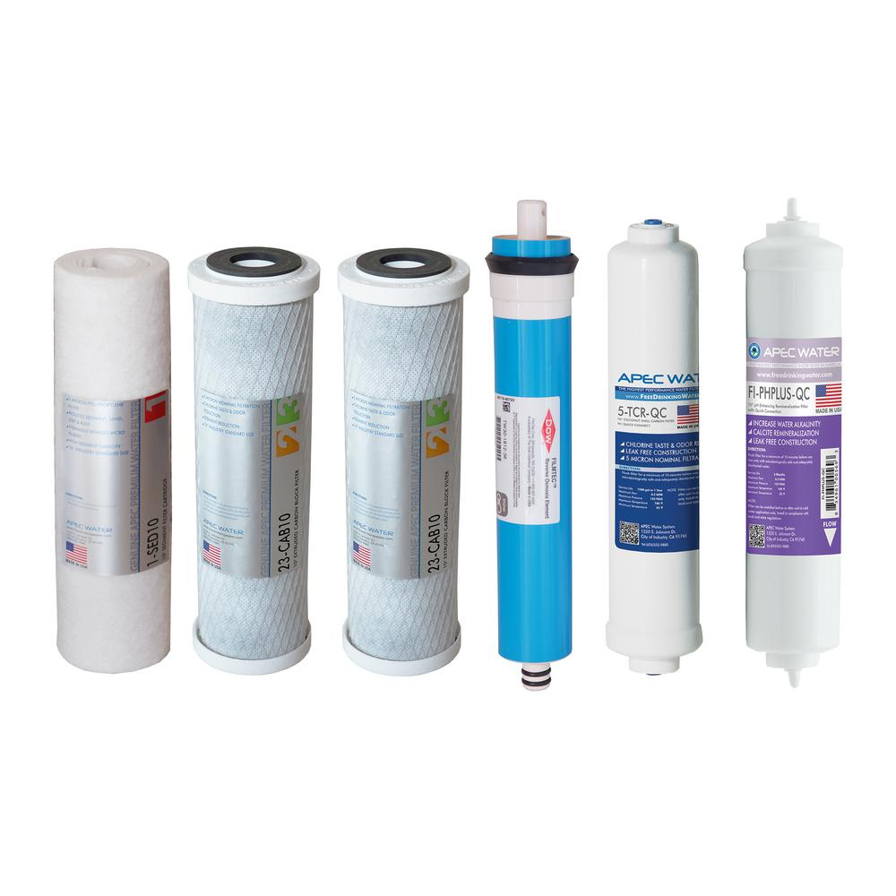 Apec Water Systems Ultimate Complete Replacement Filter Set For 90 Gpd Ph 6 Stage Ro Systems Stages 1 To 6 Reverse Osmosis System Reverse Osmosis Water Filter Osmosis Water Filter