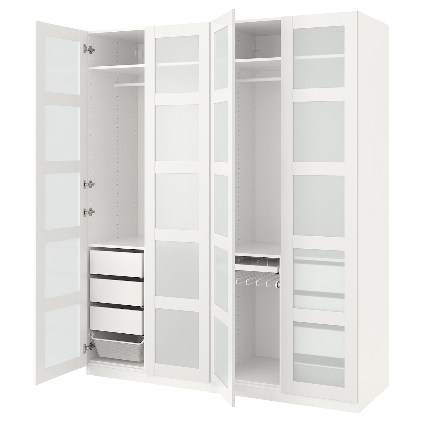 Pax Wardrobe White Bergsbo Frosted Glass 78 3 4x23 5 8x93 1 8