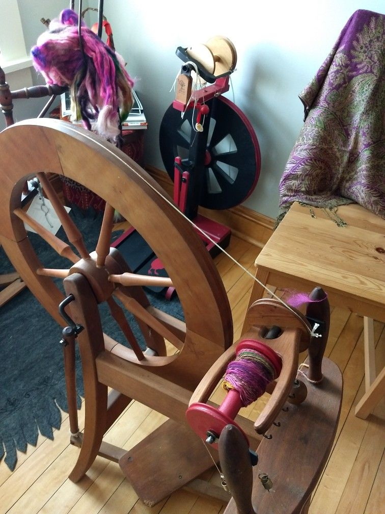 My wheels in the new Attic Craftroom! Hurray for spinning!