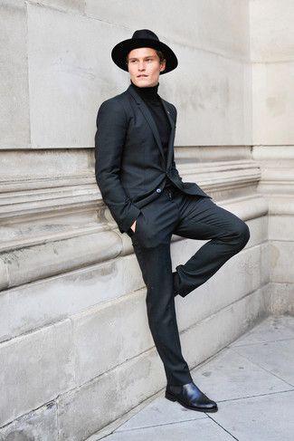 513756fb7e76 Men's Black Suit, Black Turtleneck, Black Leather Chelsea Boots, Black Wool  Hat