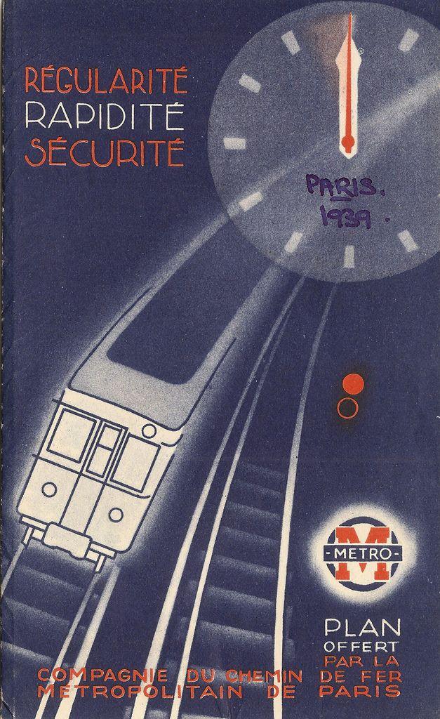 1939 Paris Metro map cover CMP Plan Chemin de Fer Metropolitain de