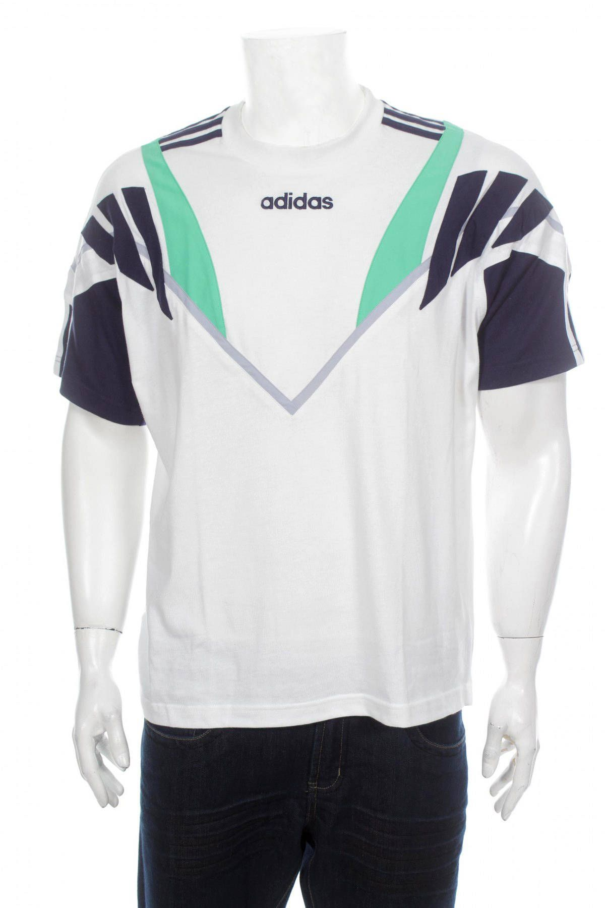 best loved ec460 b1fc8 Vintage 90s Adidas Cut And Saw Tshirt Big Logo Spell out Green gray Blue white  Size M by VapeoVintage on Etsy