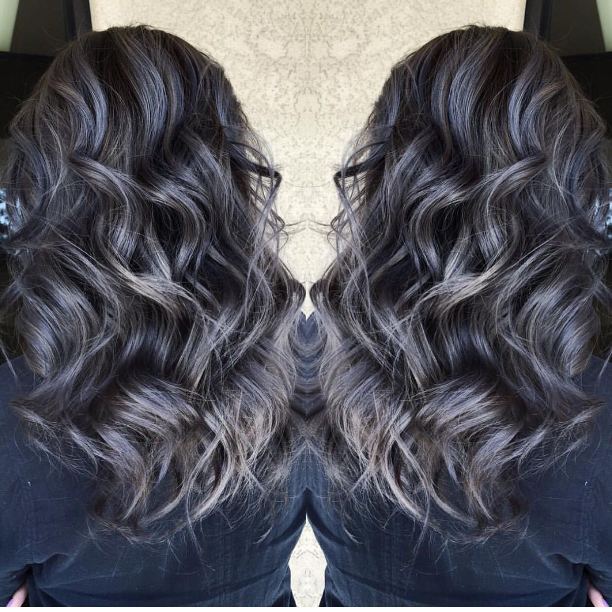 Beautiful Silver Gray Hair Highlights Over Smoky Dark Brunette Hair
