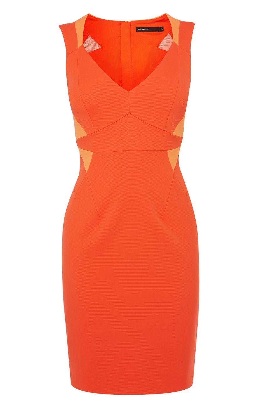 Vêtements | Orange Robe fourreau orange stretch style ottoman | Karen Millen