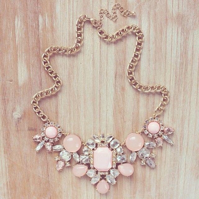 Pastel Pink Rhinestone Statement Necklace, Light Pink Rhinestone ...