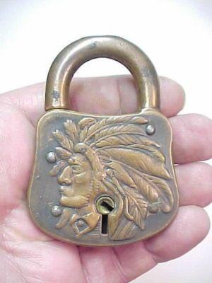 Indian head lock in brass