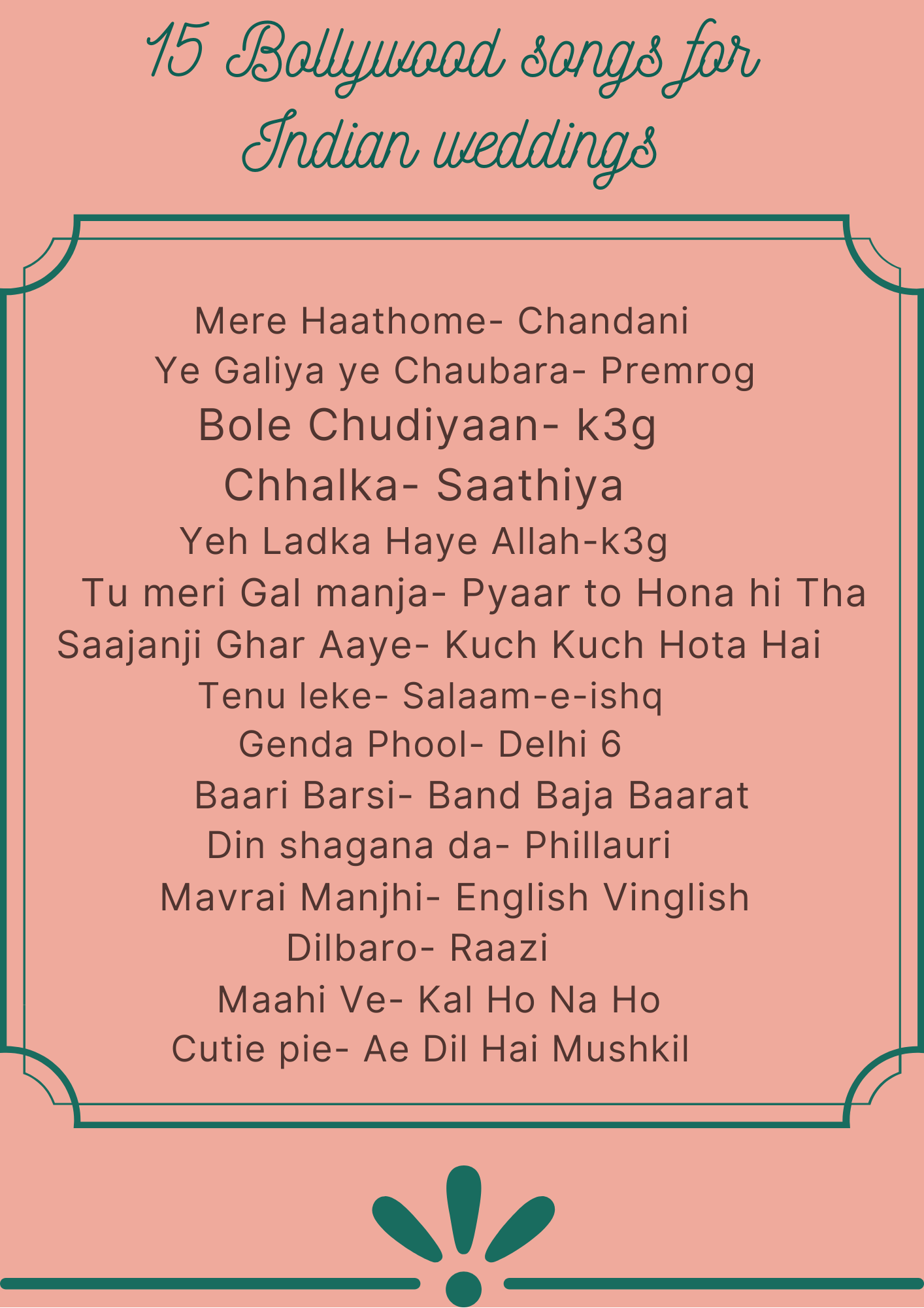 Bollywood Songs For Indian Weddings Indian Wedding Songs Wedding Song List Bollywood Songs