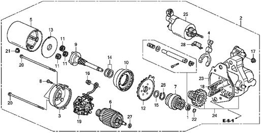 honda accord engine diagram | 2009 honda accord ex-v6 starter motor parts schematic  diagram | car