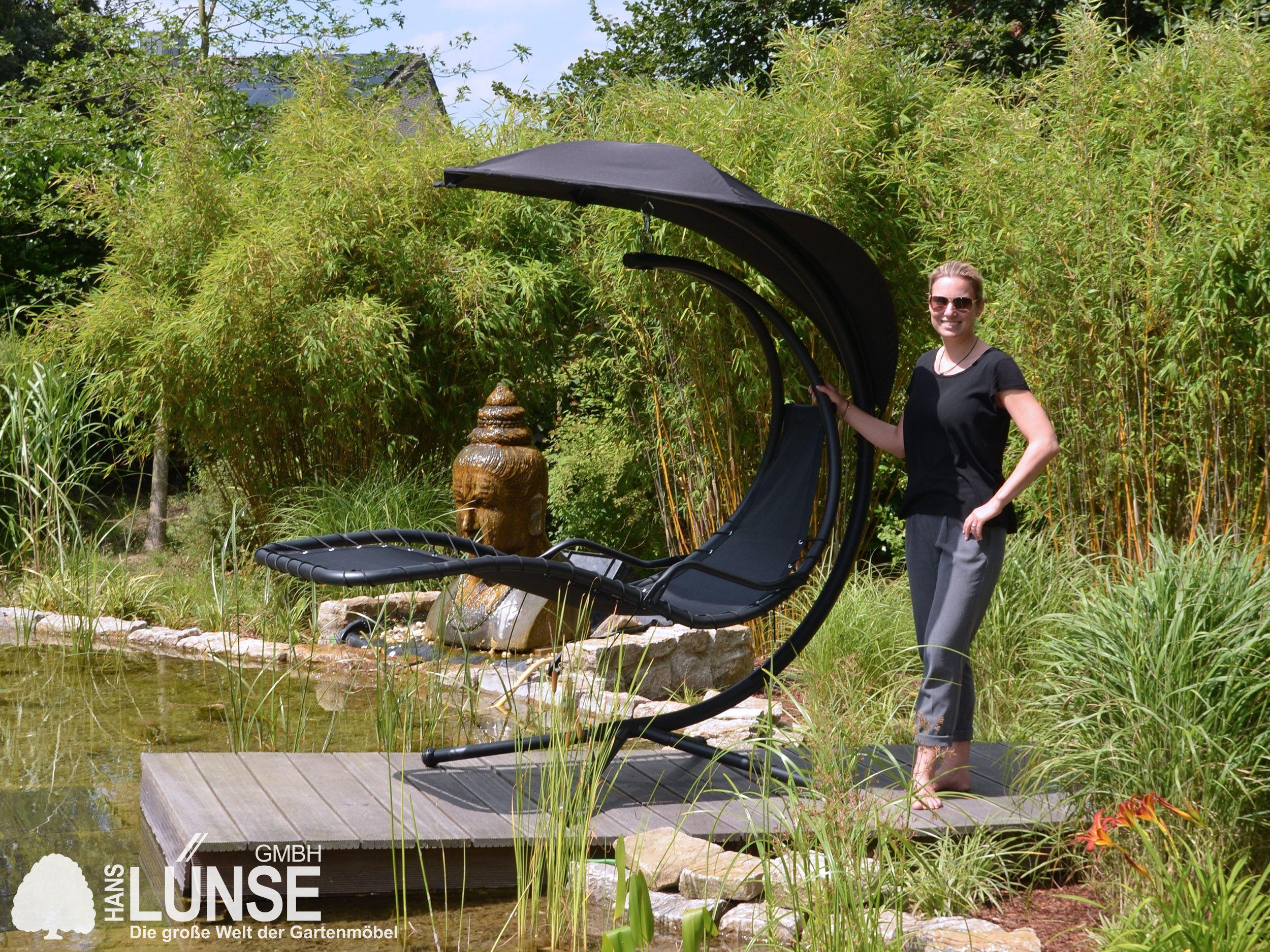 Einfach Die Augen Schliessen Abschalten Und Entspannen Die Gartenliege Dubai Ist Ein Hybrid Aus Hangematte Und Relaxliege Di Relaxliege Relaxen Gartenliege