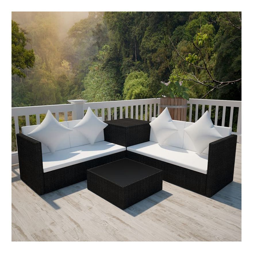 Vidaxl Ensemble De Mobilier De Jardin 14 Pcs Resine Tressee Noir Garden Sofa Set Corner Sofa Set Garden Sofa