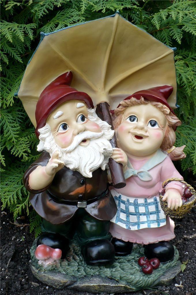 Gnome In Garden: 15 IN. GARDEN GNOME MAN/LADY COUPLE UNDER UMBRELLA YARD