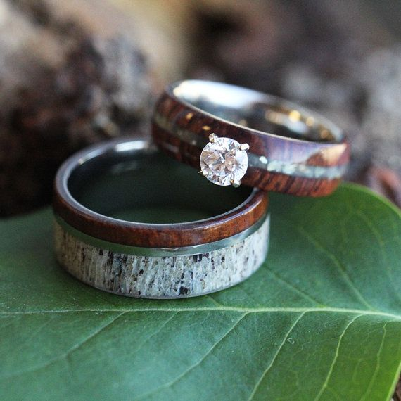 Wood Wedding Ring Set Rustic Bridal In By Jewelrybyjohan