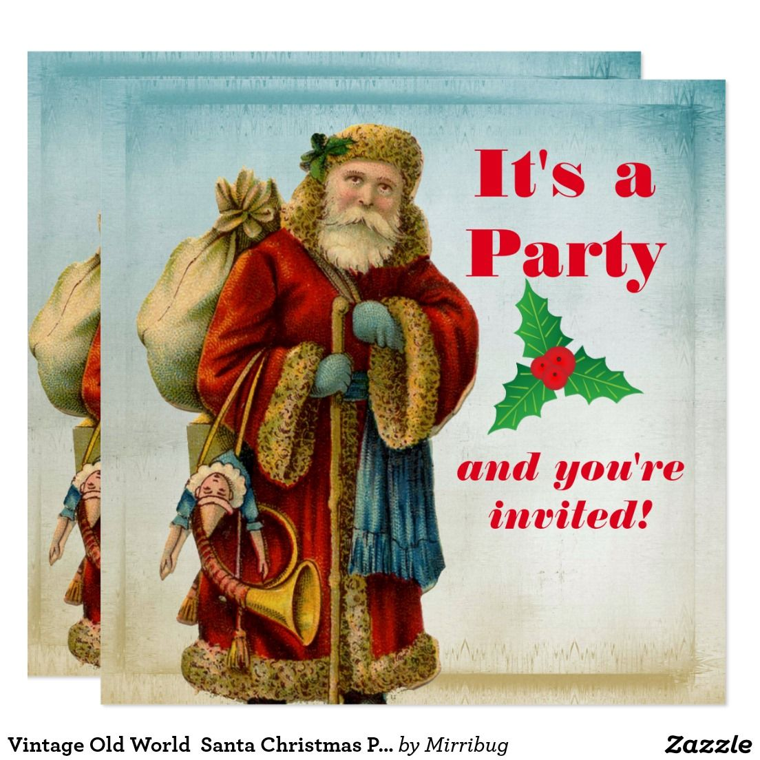 Vintage Old World Santa Christmas Party Card | Christmas Party ...