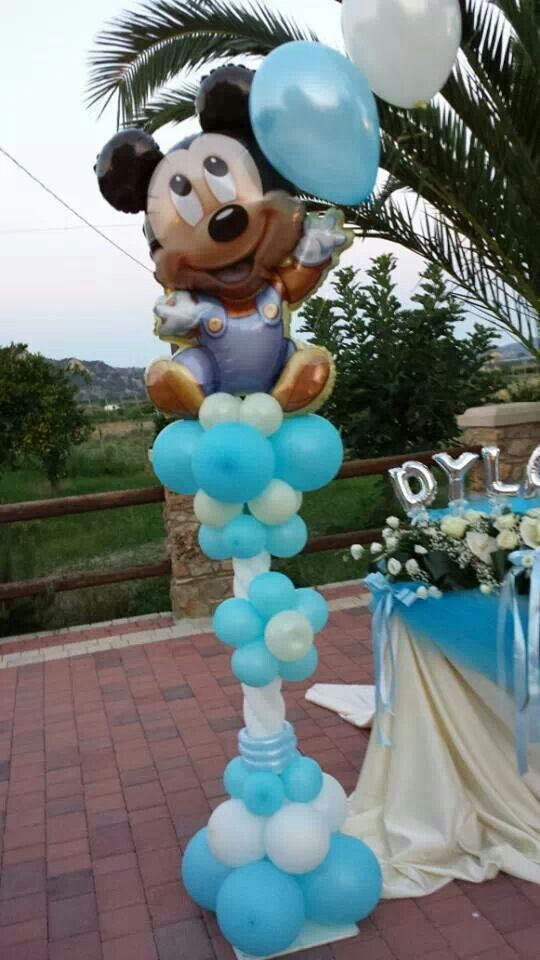 Pin by feestfeest on balloon baby shower parties for Baby mickey mouse decoration
