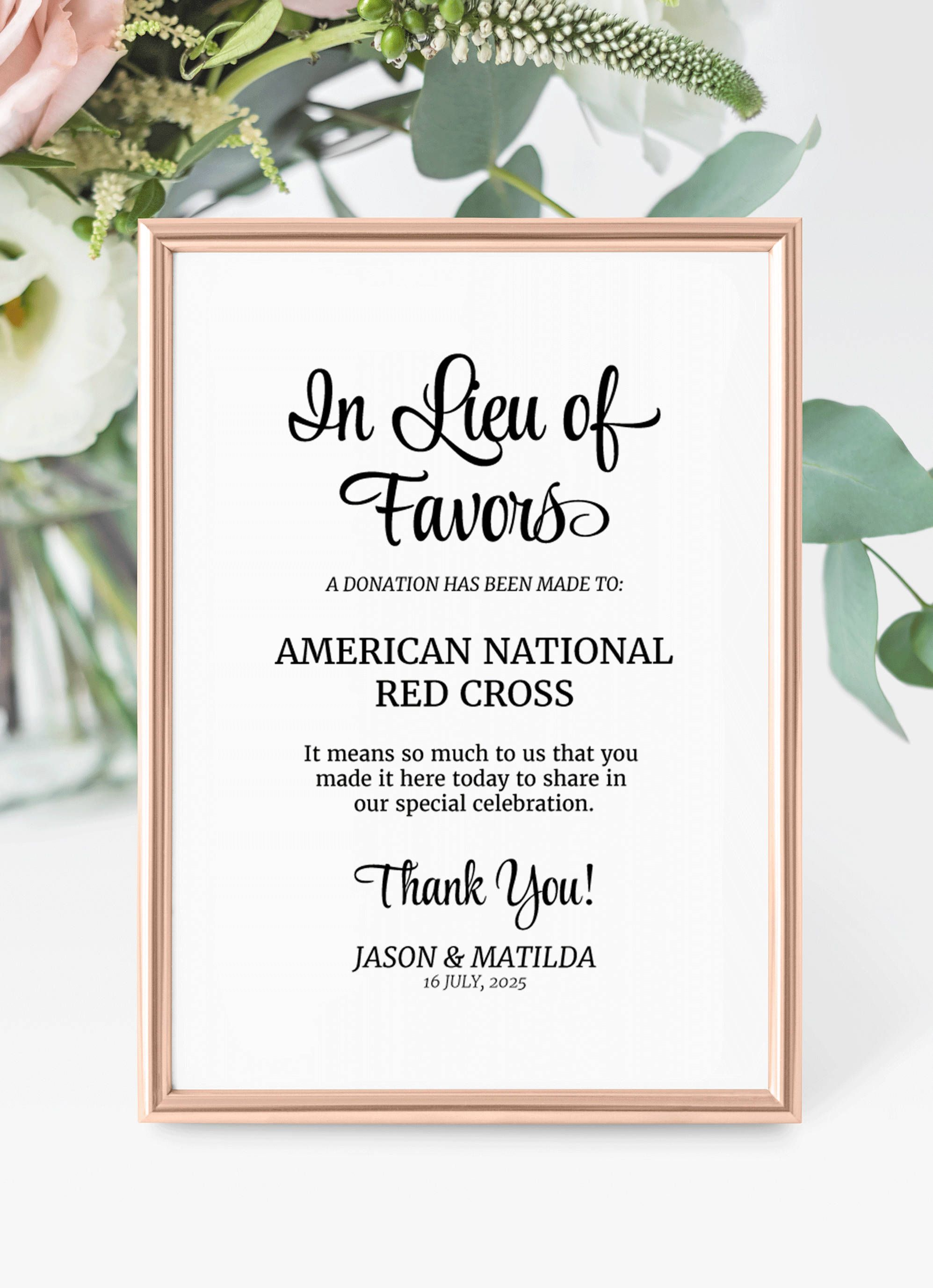 In Lieu of Favors Sign, Donation Sign, Favors sign, Wedding donation ...