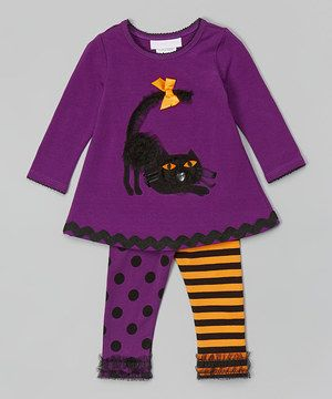 This Gerson & Gerson Purple & Black Cat Top & Leggings - Infant by Gerson & Gerson is perfect! #zulilyfinds