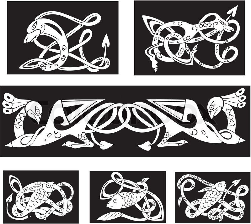 Stock vector of 'Animalistic celtic knot patterns