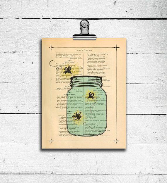 Fireflies in a Mason jar Poster print Boys room wall decor Mixed ...
