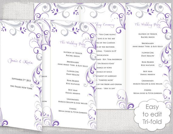 Trifold Wedding Program Template Wisteria And Silver Scroll DIY