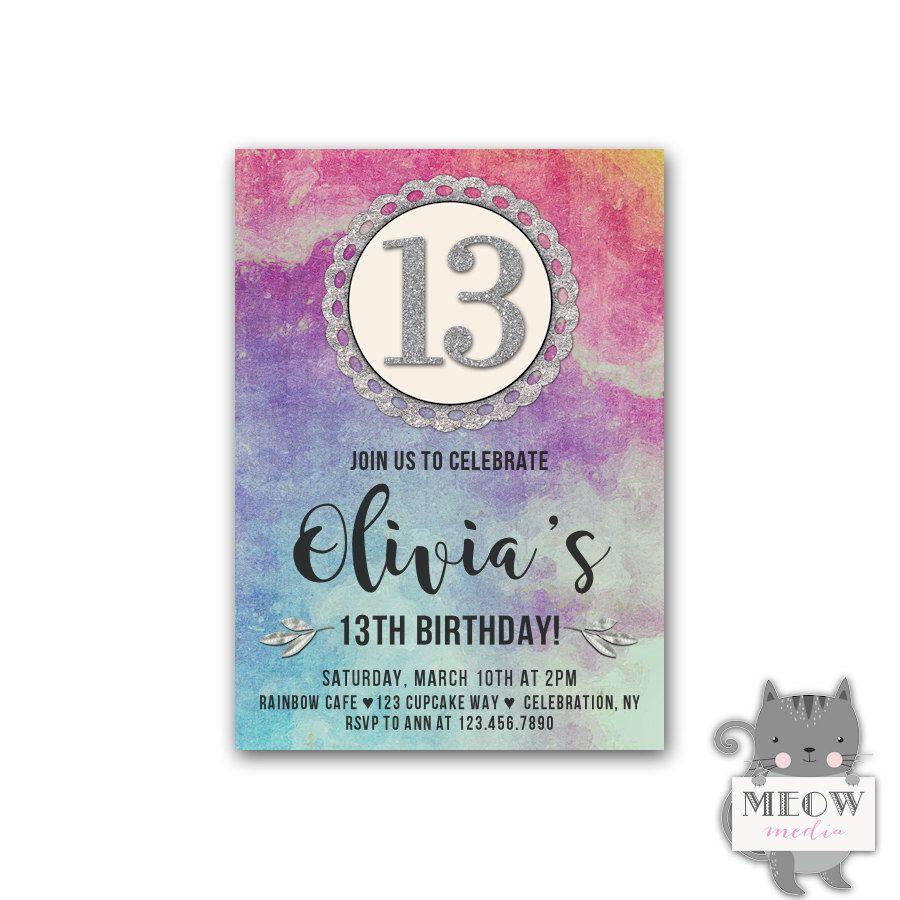 Girl\'s 13th birthday invitations, watercolor faux silver glitter ...