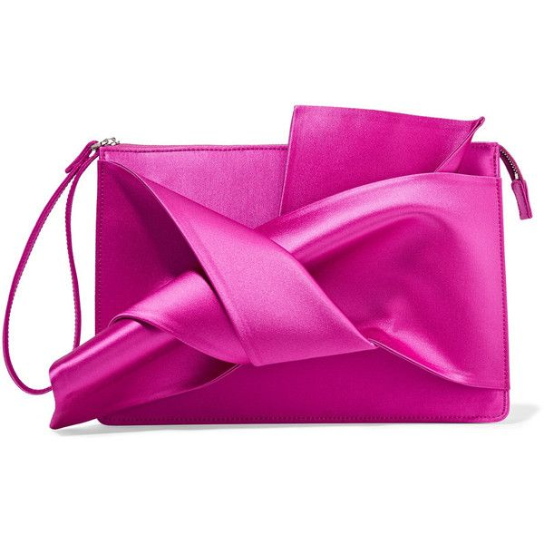 21 Knot Satin Clutch 4 087 190 Idr Liked On Polyvore Featuring Bags Handbags Clutches Fuchsia Pink Fuschia Handbag Bow Purse