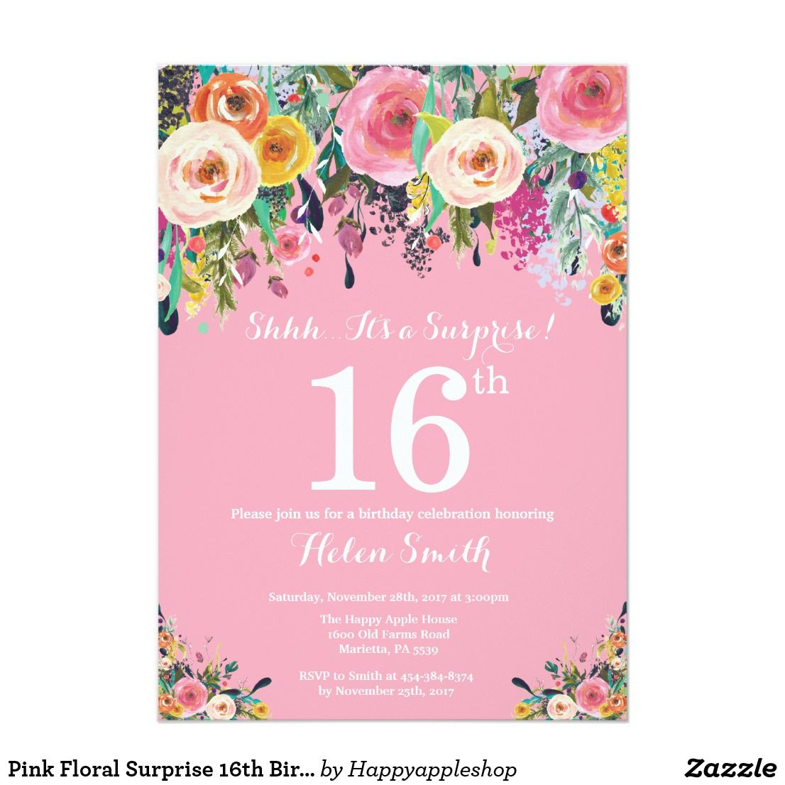 Pink Floral Surprise 16th Birthday Invitation