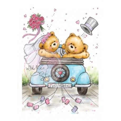 Tampon dessin ours mariage voiture juste mari e wild rose studio th me mariage amoureux - Dessin voiture mariage ...