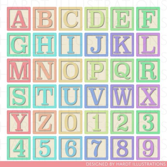 Pastel Alphabet Blocks Clipart Alphabet Clip Art Letter Clipart
