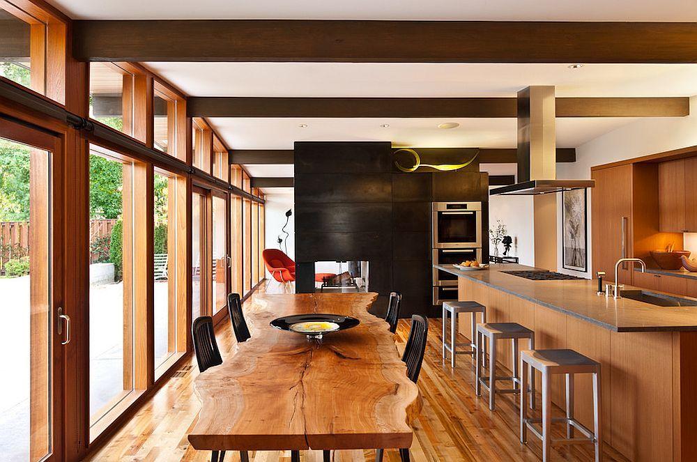 Magnifiques Tables à Manger En Bois à Bord Naturel Pixel - Table en bois massif brut pour idees de deco de cuisine