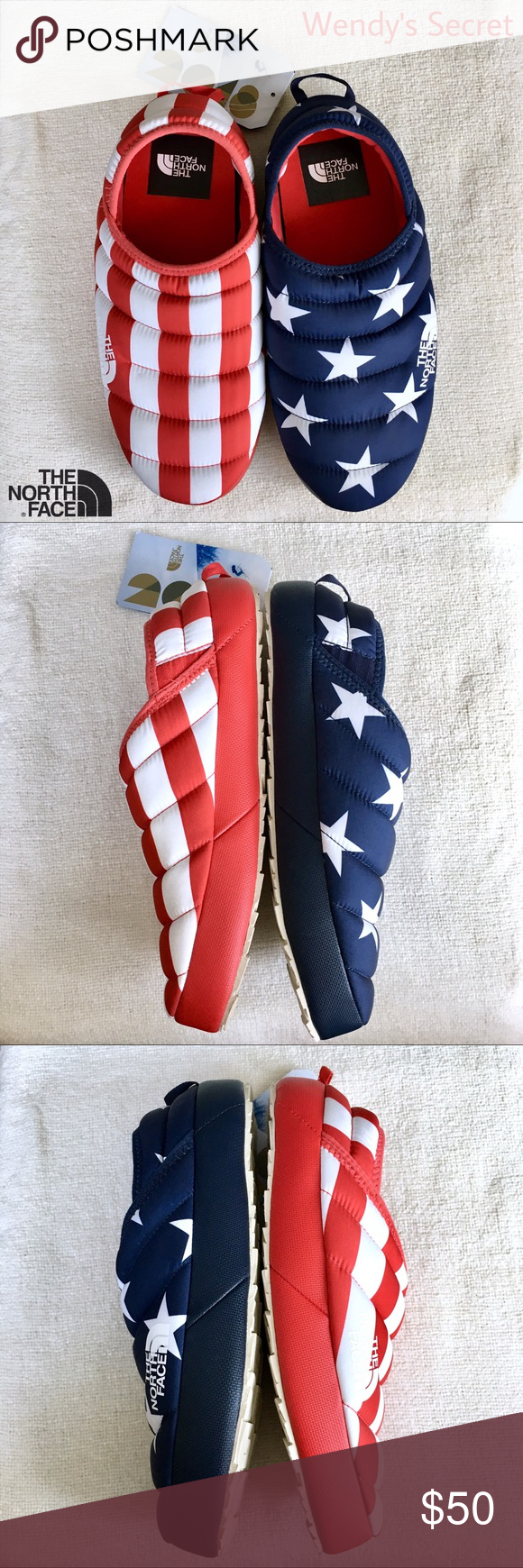 2ea4dbf1ca57 🆕 The North Face 2018 Mule Men Slippers USA Flag NEW with tags. The ...