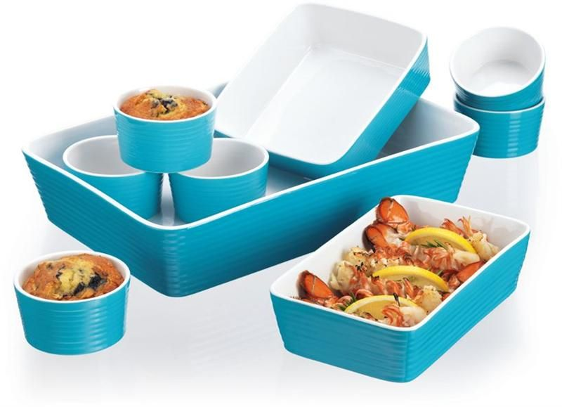 Turquoise Blue 9 Piece Ceramic Oven to Table Cookware Set | Kitchen ...