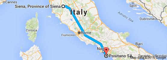 Map from Siena Province of Siena Italy to Positano SA Italy