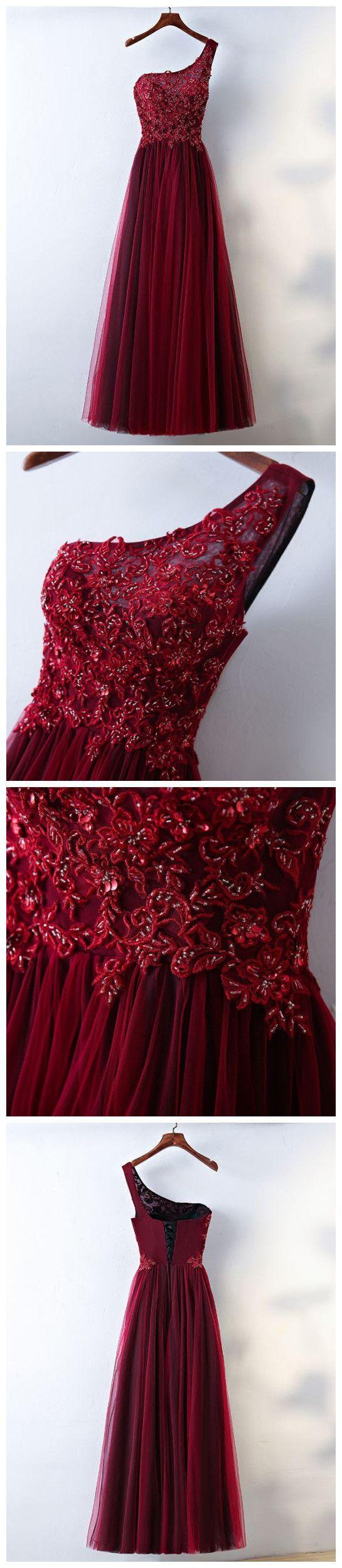 Chic aline one shoulder tulle modest burgundy long prom dress
