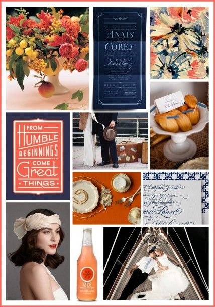 Anchors Away! Instead of classic red, white, and blue, consider this twist on a nautical palette: navy, peach, and ivory inspired by luxurious 1930s ocean liners.