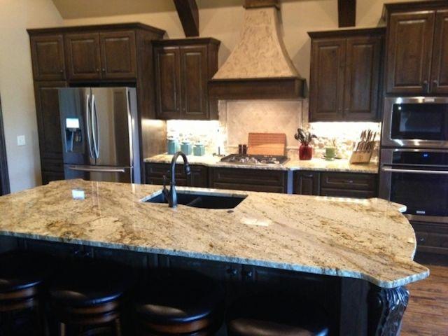 Kitchen Backsplash Ideas For Dark Cabinets sienna beige granite dark cabinets – backsplash ideas | kitchen