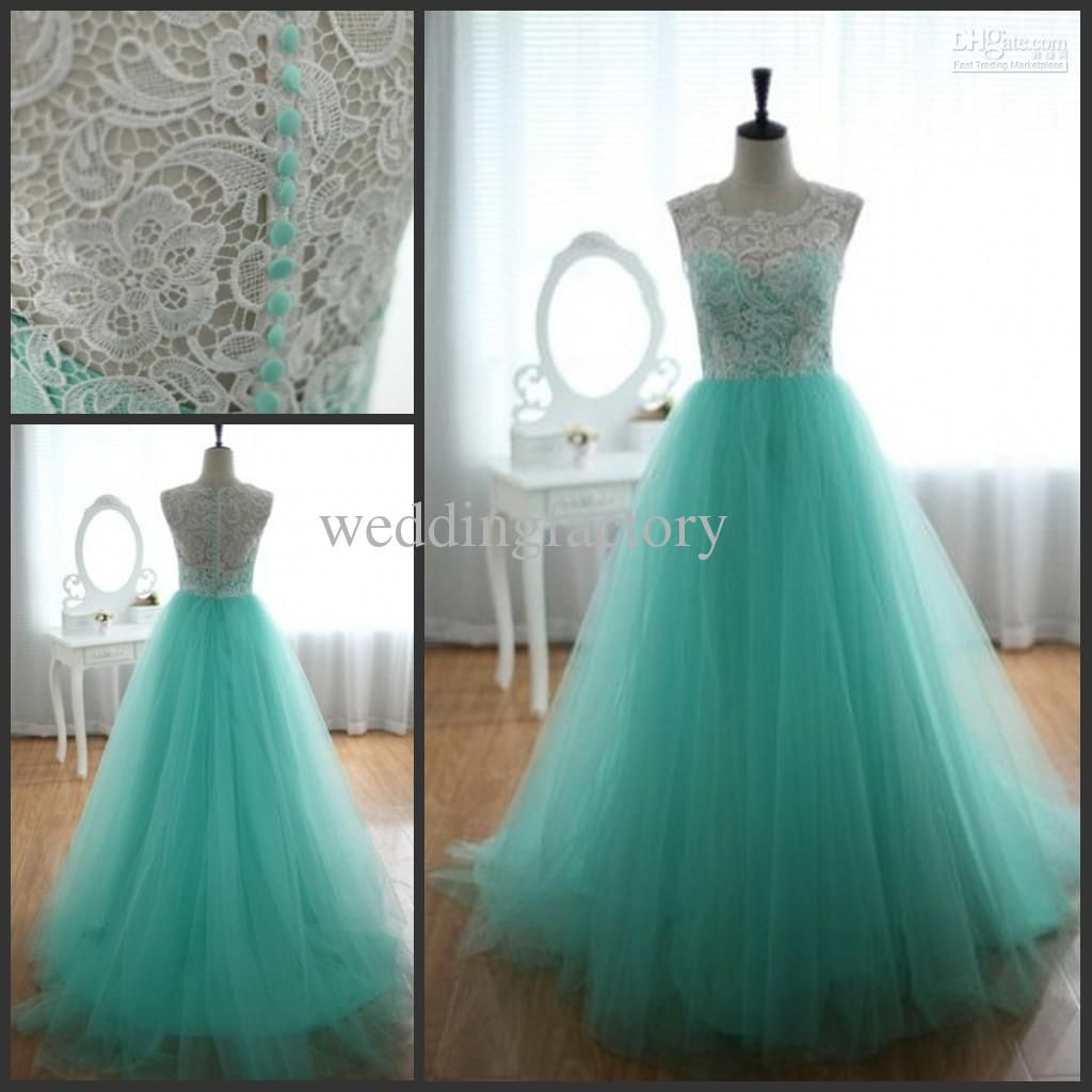Turquoise Green Lace Tulle Prom Dresses A Line Full Length ...