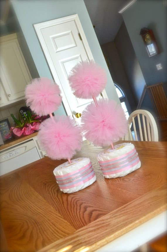Unique tulle pom pom diaper cake topiary baby shower for Baby shower tulle decoration ideas