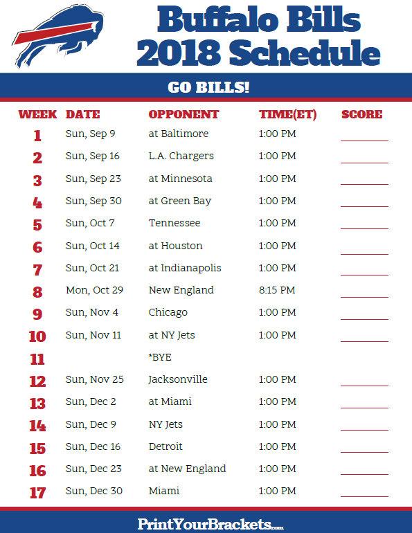 picture relating to Buffalo Bills Schedule Printable named Printable 2018 Buffalo Payments Soccer Routine Printable