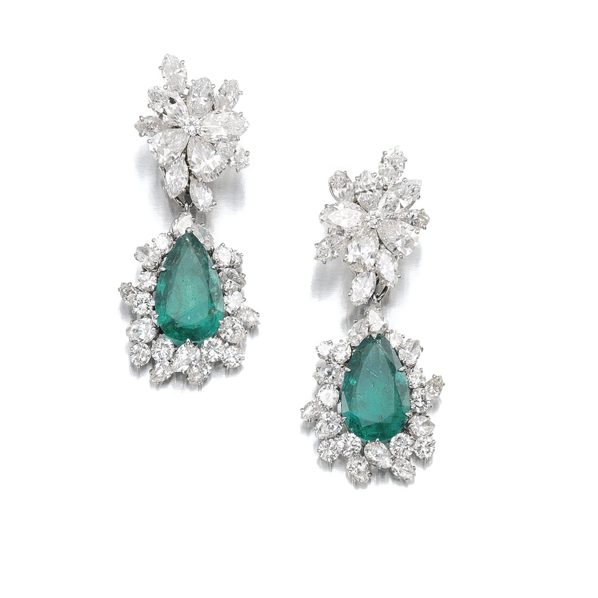 Attractive pair of emerald and diamond pendent ear clips bulgari