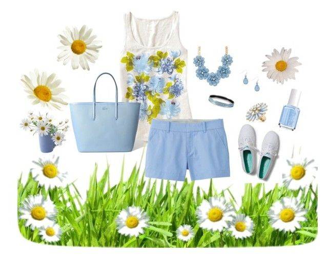 Periwinkle and Daisies by kburton1971 on Polyvore featuring polyvore fashion style Old Navy Uniqlo Keds Lacoste ALDO MOOD Essie clothing