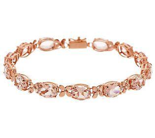 Premier Oval Morganite Fl Design 8 Tennis Bracelet 14k