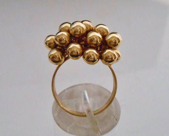 14K Gold Ring Orb Sphere Cluster Yellow Gold AK Turkey Size 6