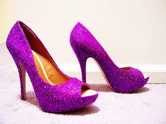 Hand Made Womens Christian Louboutin Style Purple Rhinestone Peep Toe High Heel Shoes