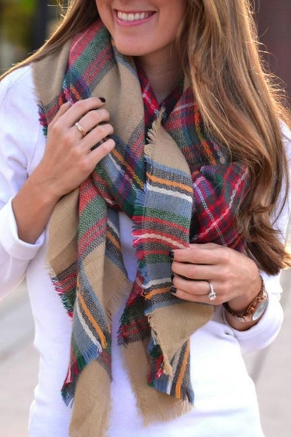 PInk Pineapple Plaid Blanket Scarf