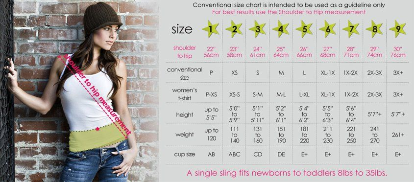 26f31f0f941 Seven™ Everyday Slings - Sizing Chart. Seven™ Everyday Slings - Sizing  Chart Baby Wrap ...