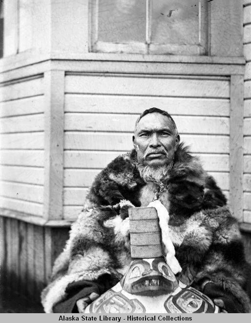 Tlingit Indian Posing With Wooden Headdress From Hoonah, Alaska.