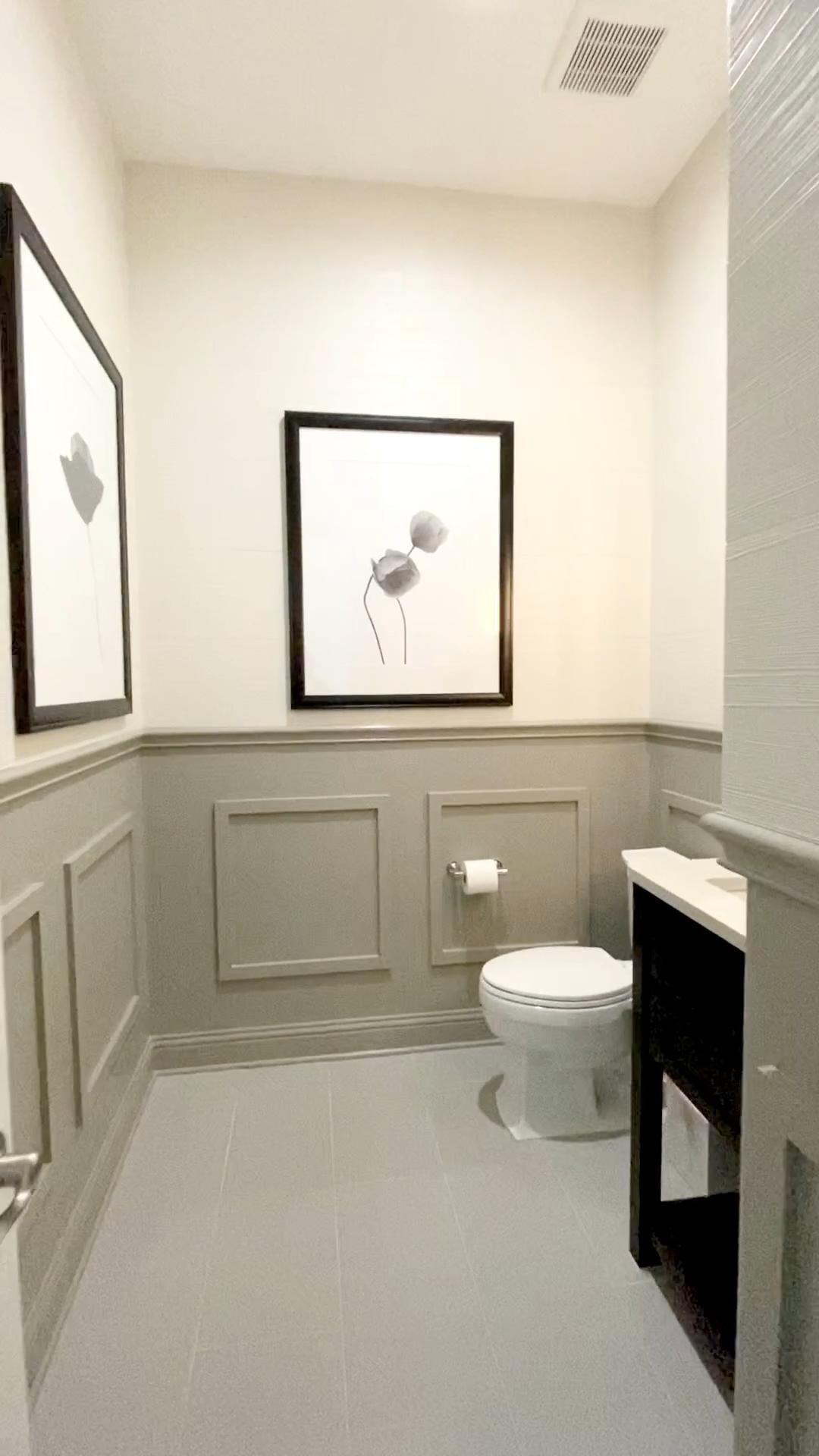 Photo of Gray and white Powder Bathroom